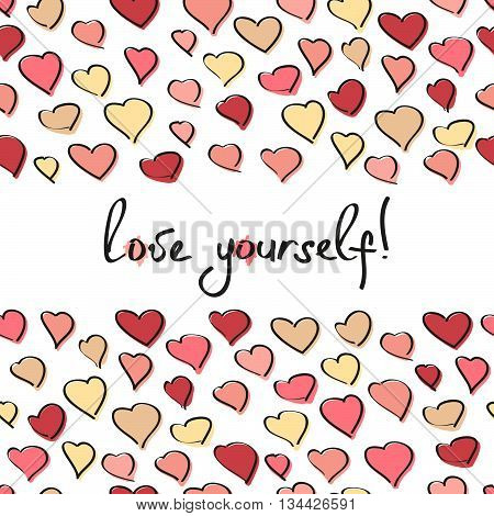 Love yourself! selfish card. Copy space for text. Egoistic text frame with hearts. Plain design for invitation, poster or postcard. Valentine's Day Card.