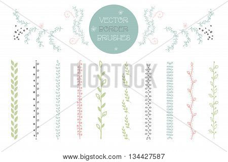 Set of 10 vector Brushes includes hand drawn floral decorative seamless brushes. Geometric border brushes with outer and inner corner tiles. Vector illustration