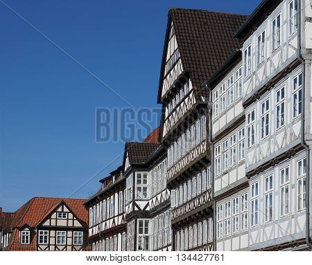 historic half-timber houses in Hannover old town quarter