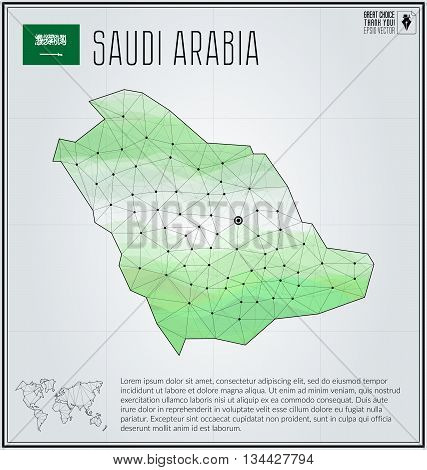 Saudi Arabia map in geometric polygonal style. Polygonal abstract world map. Vector illustration. Saudi Arabia flag. Riyadh pointer