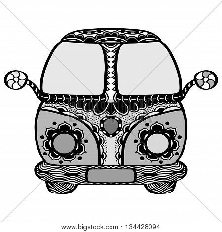 Vintage car a mini van in zentangle style. Hand drawn image. Monochrome vector illustration. The popular bus model in the environment of the followers of the hippie movement.