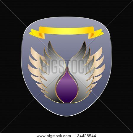 Chevron in the form of a shield with wings and a yellow ribbon and a nickel-plated frame