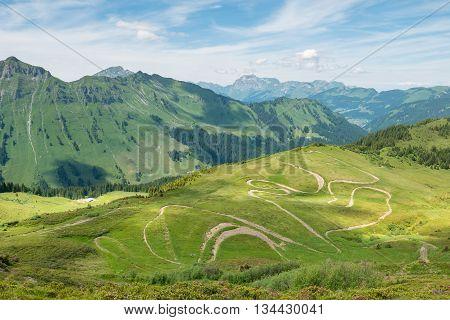 Winding Bike Trails In Summer Alps, Champery