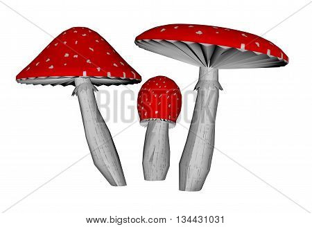 Red amanita muscaria mushrooms isolated in white background - 3D render
