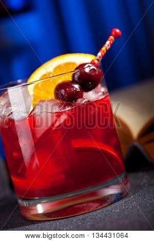 Bourbon Cocktail with Cherry, Bitter and Orange