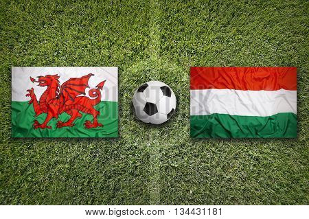 Wales Vs. Hungary Flags On Soccer Field