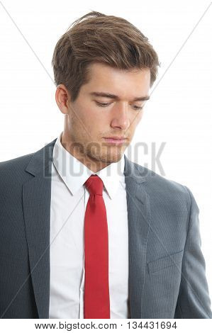 young man looking down isolated on white