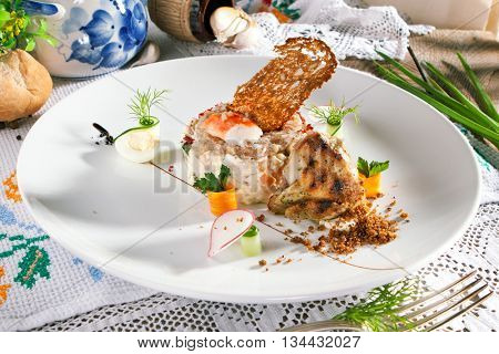 Salad with King Red Crab and Vegetables. Garnished with Grilled Wachtel