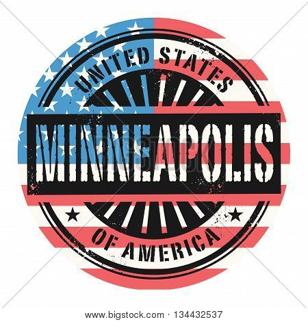 Grunge rubber stamp with the text United States of America, Minneapolis, vector illustration