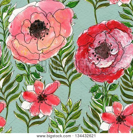 Floral seamless watercolor pattern. Wildflowers and briar rose seamless hand drawn background. Floral illustration