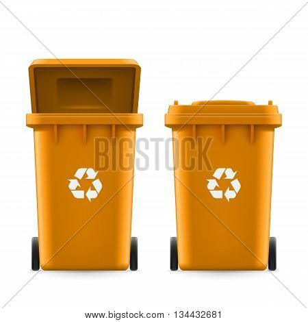 Set of orange buckets for trash with sign arrow