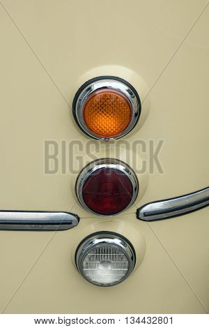 Headlight of old bus, abstract oldtimer background