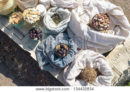 UFA, RUSSIA 29TH MAY 2016 - Sacks of home-grown vegetable seeds for sale at a local market. Selling home grown produce is a necessary form of income for many pensioners in Russia.