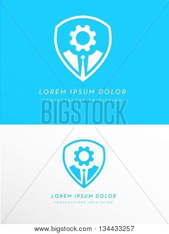 BUSINESS MAN IN SUIT SILHOUETTE WITH GEAR WHEEL HEAD INSIDE A SHIELD , VECTOR LOGO / ICON