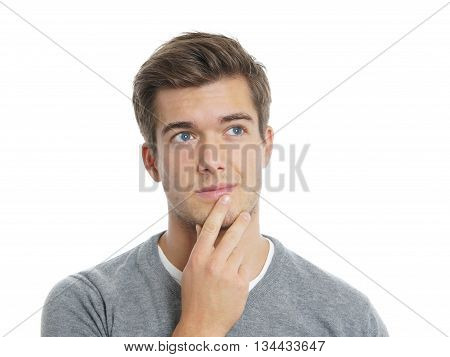 young man thinking. isolated on white background