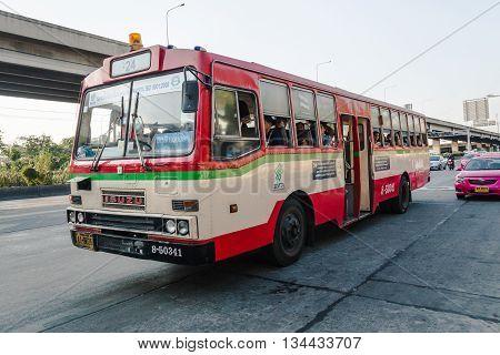 BANGKOK THAILAND - MAY 2 2016 : 24 red and white public bus stop to pickup passenger on Vibhavadi Rangsit road