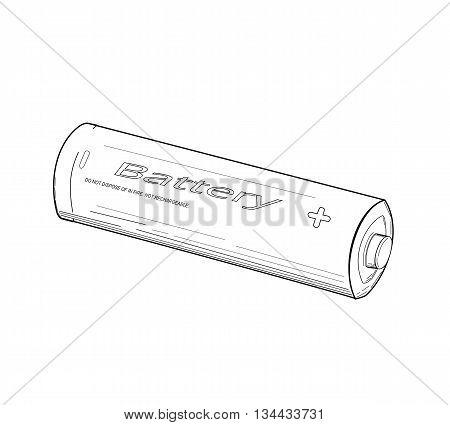 Battery drawing design - modern vector illustration.