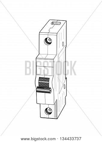 Circuit breaker isolated on white background - vector illustration.