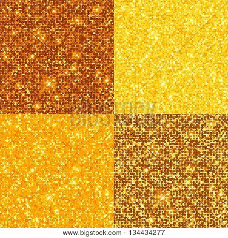 Gold seamless pattern bright texture set. Vector illustration.