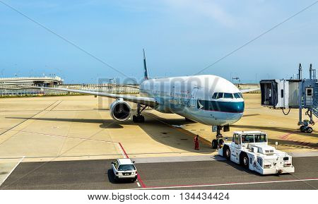 Osaka, Japan - May 14, 2016: Cathay Pacific aircraft in Kansai International Airport. Cathay Pacific is the flag carrier of Hong Kong