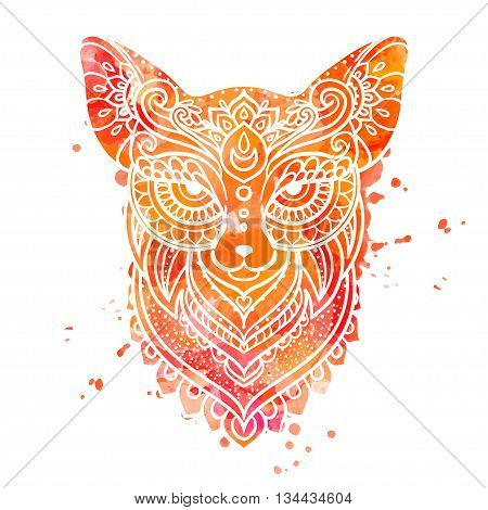 Ornament fox vector. Beautiful illustration fox for design, print clothing, stickers, tattoos, Adult Coloring book. Hand drawn animal illustration. Bohemian fox lace. Watercolor yellow Face the fox