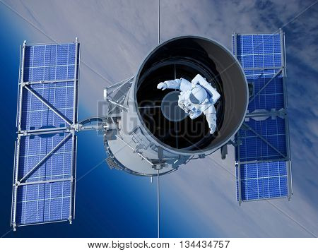 Space Telescope, and an astronaut in space.3D rendering