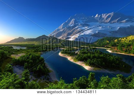 Colorful mountain landscape on background of sky.,3d render