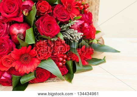 Closeup Shot Of Red Bouquet Of Roses, Gerberas, Peonies, Pomegranates. Love And Passion Symbol. Anni