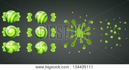 Green kiwi candy with splash animation set