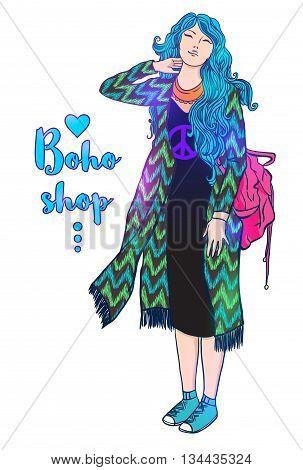 Illustration of Girl Bohemian style, boho vector illustration, Bright girl lifestyle. The dress with fringe. Hippie retro 60s style