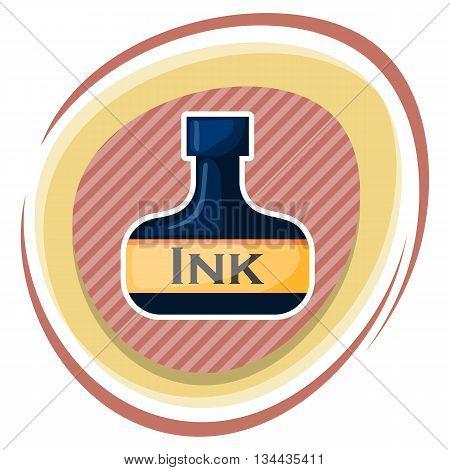 Vector ink bottle. Illustration in cartoon style