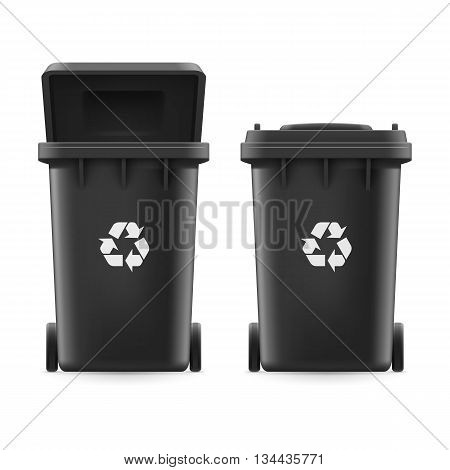 Set of black buckets for trash with sign arrow
