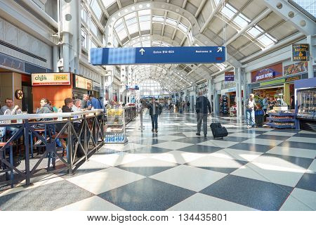 CHICAGO - APRIL 05, 2016: inside of O'Hare International Airport. O'Hare is currently a major hub for American Airlines and United Airlines, as well as a hub for regional carrier Air Choice One.