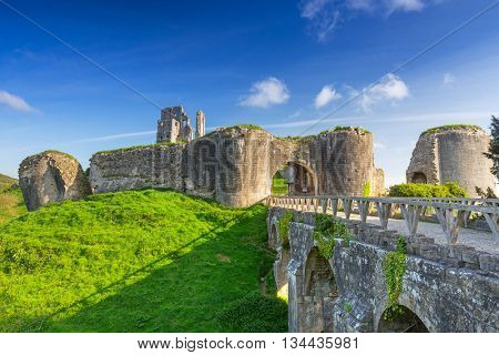 Ruins of the Corfe castle in County Dorset, UK