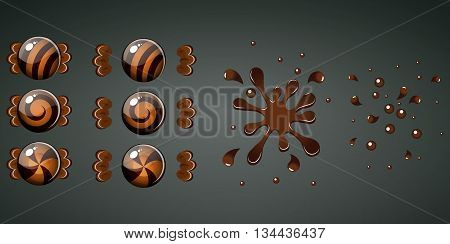 Braun chocolate candy with splash animation set