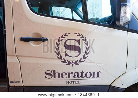 NEW YORK, USA - CIRCA MARCH, 2016: Sheraton logo on the car. Sheraton Hotels and Resorts is Starwood Hotels and Resorts Worldwide's largest and second oldest brand