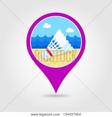 Shuttlecock for badminton sport vector pin map icon. Beach Map pointer. Summer Map markers. Holiday. Summertime. Vacation eps 10