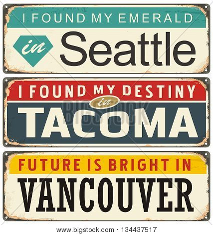 Retro metal signs collection with USA cities. Travel souvenirs on old damaged background.