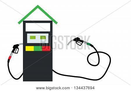 Filling Gun on Refueling the Car. Vector Illustration. EPS10