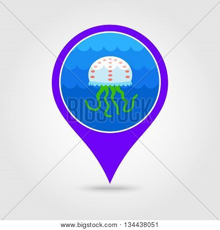 Jellyfish vector pin map icon. Beach Map pointer. Summer Map markers. Holiday. Summertime. Vacation eps 10