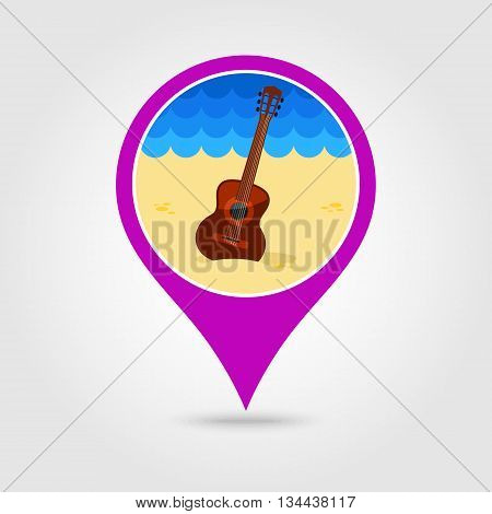 Guitar Beach vector pin map icon. Beach Map pointer. Summer Map markers. Holiday. Summertime. Vacation eps 10