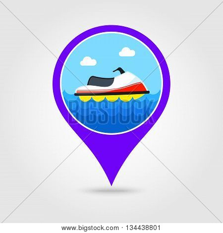 Jet Ski vector pin map icon. Beach Map pointer. Summer Map markers. Holiday. Summertime. Vacation eps 10