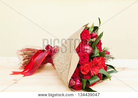 Red Bouquet Of Roses, Gerberas, Peonies, Pomegranates. Love And Passion Symbol. Anniversary Gift. Bi