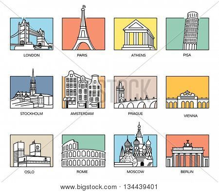 Europe landmarks and favorite travel destinations in line icons style and flat colour rectangle backgrounds.