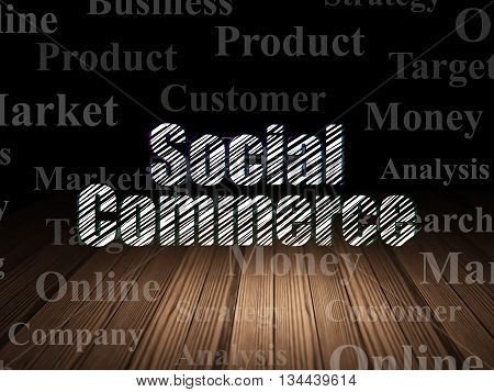 Marketing concept: Glowing text Social Commerce in grunge dark room with Wooden Floor, black background with  Tag Cloud