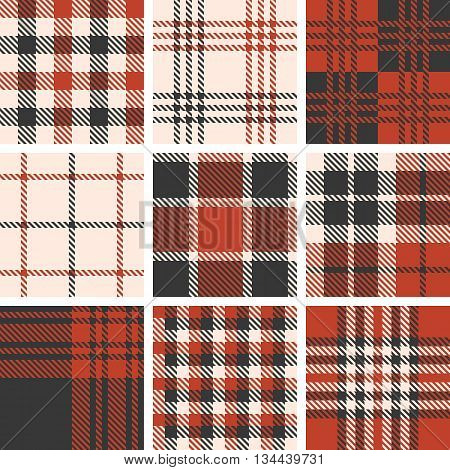 set of tartan seamless pattern, checkered pattern, plaid pattern, vintage style set 1