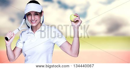 Female athlete playing tennis against composite image of tennis field