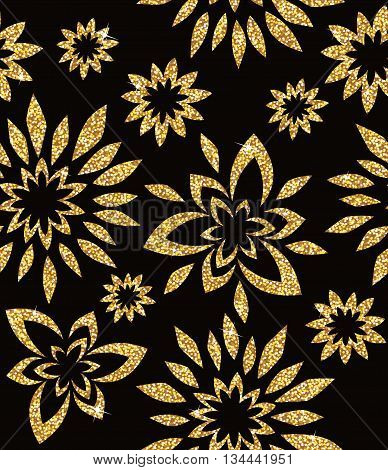Seamless background from a floral golden ornament, Fashionable modern wallpaper or textile