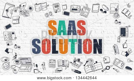 Multicolor Concept - SaaS - Software as a Service - Solution - on White Brick Wall with Doodle Icons Around. Modern Illustration with Doodle Design Style.