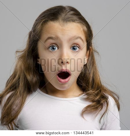 Portrait of a little girl making a astonished expression